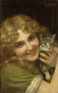 Vittorio Reggianini - Young Woman With A Kitten