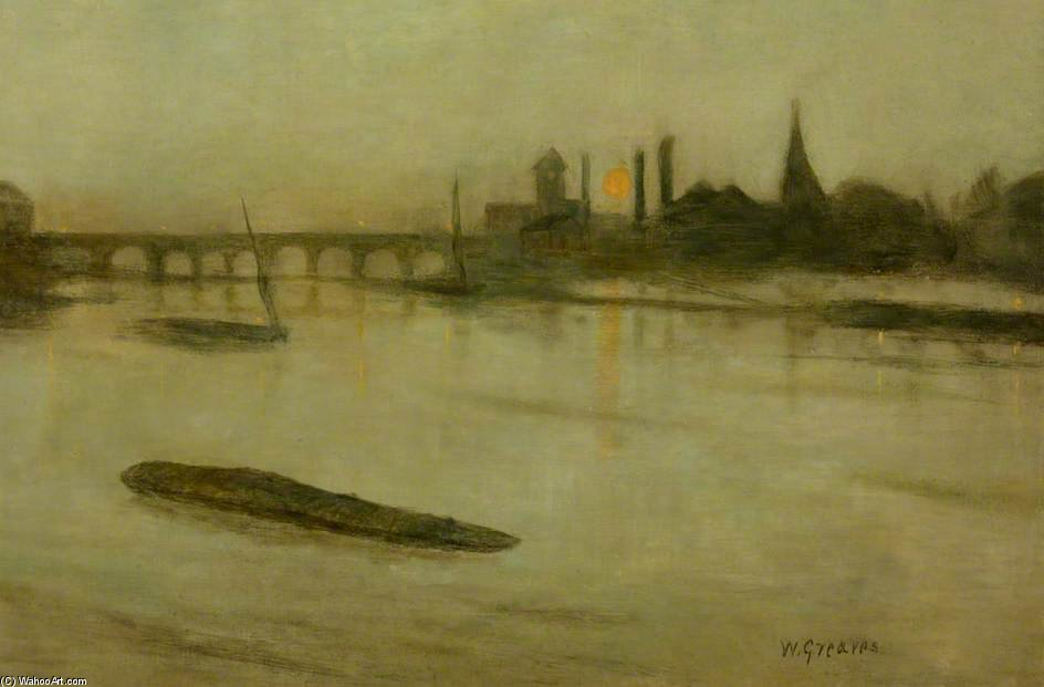 Misty Moonrise, Battersea Reach by Walter Greaves (1846-1930, United Kingdom) | Reproductions Walter Greaves | ArtsDot.com