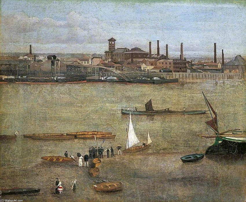 The Plumbago Factory, Battersea, London by Walter Greaves (1846-1930, United Kingdom) | Reproductions Walter Greaves | ArtsDot.com