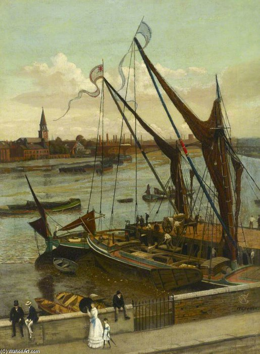Unloading The Barge, Lindsey Wharf by Walter Greaves (1846-1930, United Kingdom) | Art Reproductions Walter Greaves | ArtsDot.com