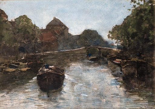 Barges In A Canal, The Hague by Wilhelmus Hendrikus Petrus Johannes Zwart (1862-1931, Netherlands)