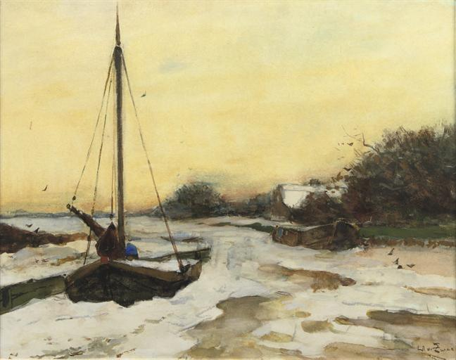 By The River In Winter by Wilhelmus Hendrikus Petrus Johannes Zwart (1862-1931, Netherlands)