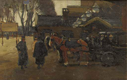 Carriages By The Hague Trainstation by Wilhelmus Hendrikus Petrus Johannes Zwart (1862-1931, Netherlands)