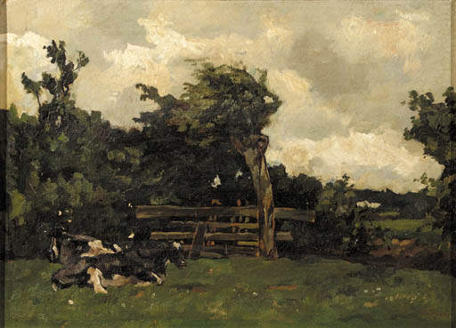 Cows In A Meadow In A Wooded by Wilhelmus Hendrikus Petrus Johannes Zwart (1862-1931, Netherlands) | Museum Art Reproductions | ArtsDot.com