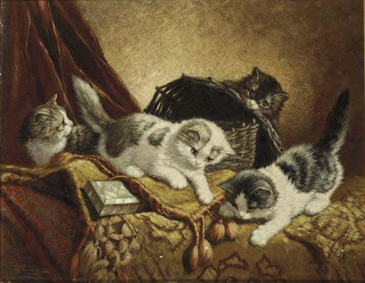 The Cat Family by Wilhelmus Hendrikus Petrus Johannes Zwart (1862-1931, Netherlands)