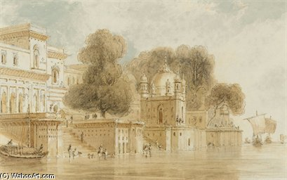Ghats At Bithur by Thomas And William Daniell (1769-1837, United Kingdom)