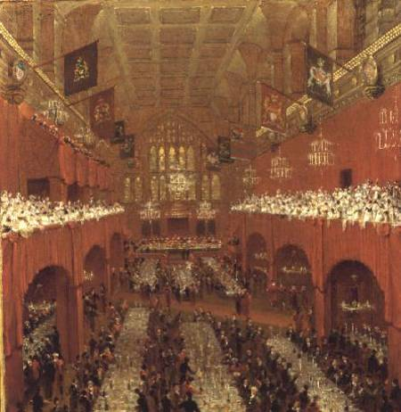 The Allied Sovereigns Banquet At Guildhall by Thomas And William Daniell (1769-1837, United Kingdom)