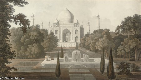 The Taje Mahel, Garden View, Agra by Thomas And William Daniell (1769-1837, United Kingdom)