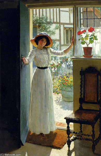 At The Cottage Door by William Henry Margetson (1861-1940, United Kingdom) | Painting Copy | ArtsDot.com