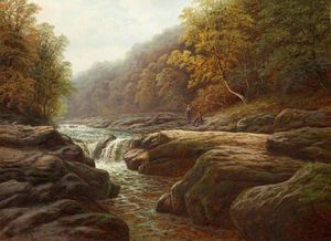 William Mellor - A River Scene With Anglers