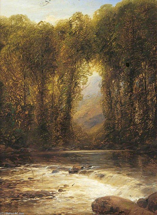 River Landscape With Trees And Mountains Beyond by William Mellor (1851-1931, United Kingdom)