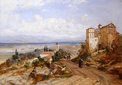 Two Convents At Nemi by William Oliver (1805-1853, United Kingdom)