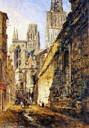 Rouen Cathedral by William Parrott (1813-1869, United States)