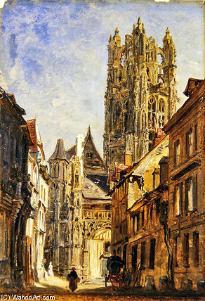 St Laurent Church, Rouen by William Parrott (1813-1869, United States)