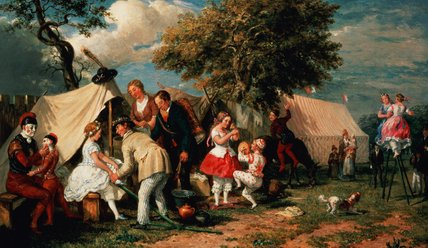The Acrobats' Camp, Epsom Downs by William Parrott (1813-1869, United States)