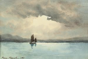 William Percy French - A Sailing Boat On A Lake