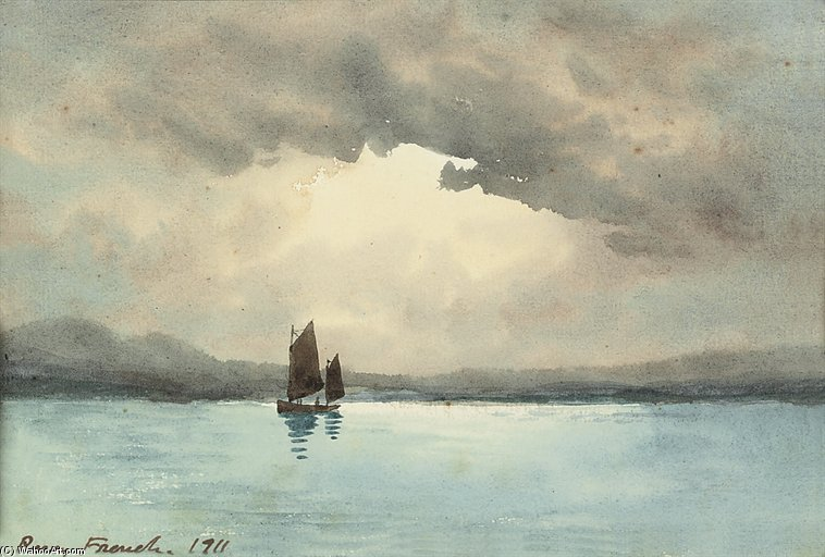 A Sailing Boat On A Lake by William Percy French (1854-1920, Ireland)