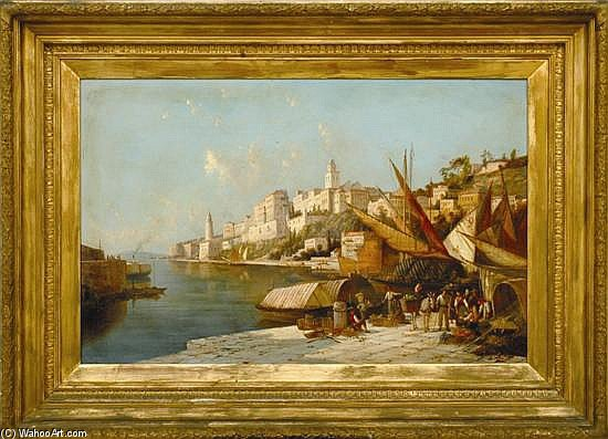 European Port Scene by William Raymond Dommersen (1580-1927, Netherlands) | Art Reproductions William Raymond Dommersen | ArtsDot.com