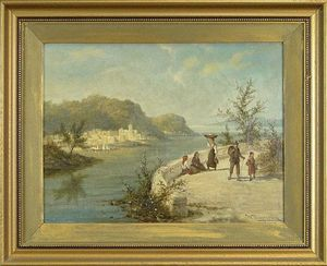 William Raymond Dommersen - Italian Landscape With River_2