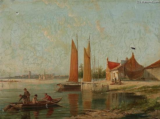 On The Amstel, Amsterdam by William Raymond Dommersen (1580-1927, Netherlands) | Reproductions William Raymond Dommersen | ArtsDot.com