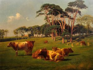 William Sidney Cooper - Cattle & Sheep In Pasture