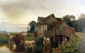 William Sidney Cooper - Cattle Watering On The Ri..