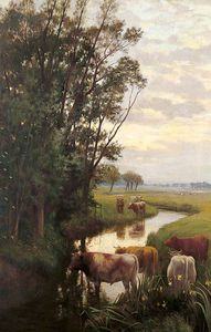William Sidney Cooper - Evening At Sturry