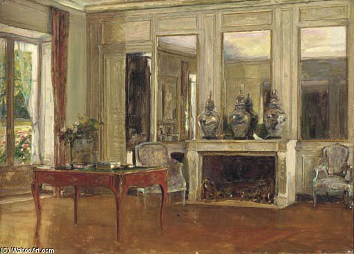 The Salon At Chateau De Fortoiseau, Signed by Walter Gay (1856-1937, United States)