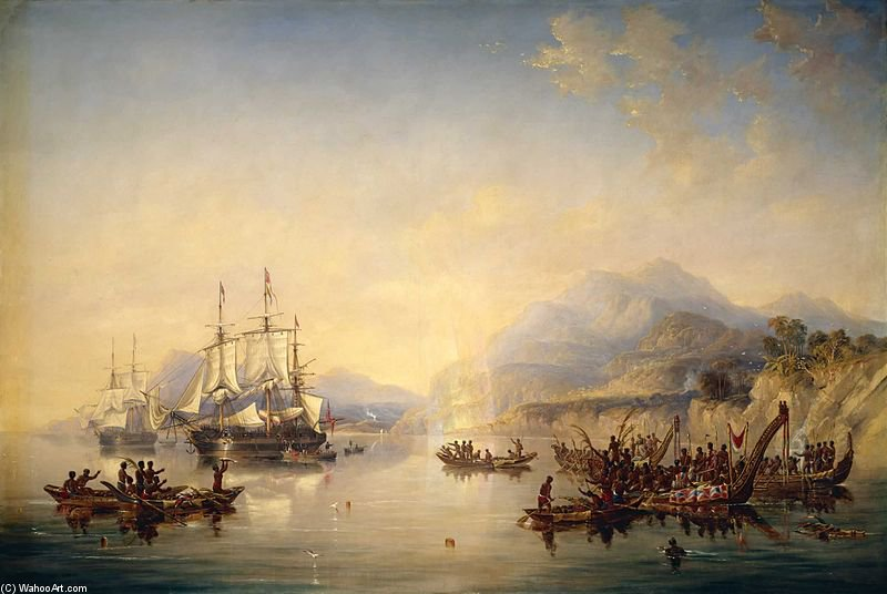 'erebus' And The 'terror' In New Zealand by John Wilson Carmichael (1800-1868, United Kingdom)