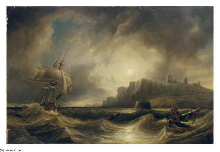 A Breezy Evening Off Saint Hilda's Abbey, Whitby by John Wilson Carmichael (1800-1868, United Kingdom)