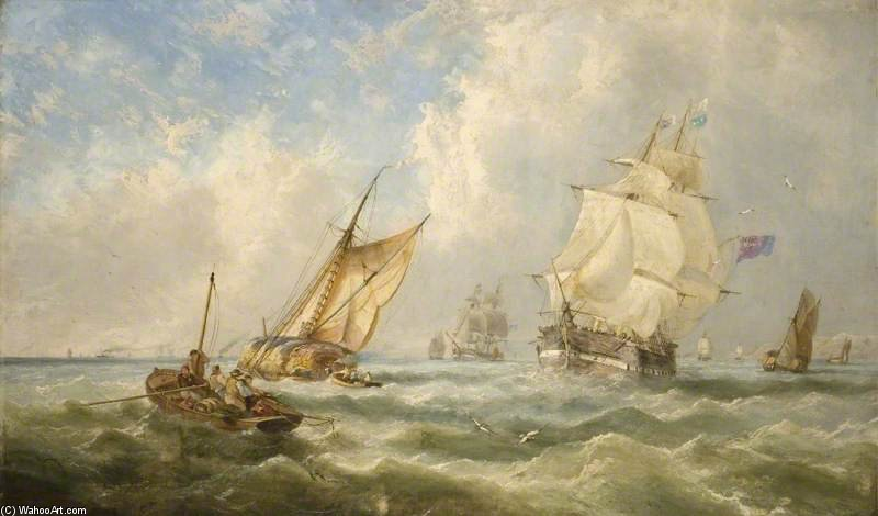 A Breezy Evening Off The Mouth Of The Mersey by John Wilson Carmichael (1800-1868, United Kingdom)