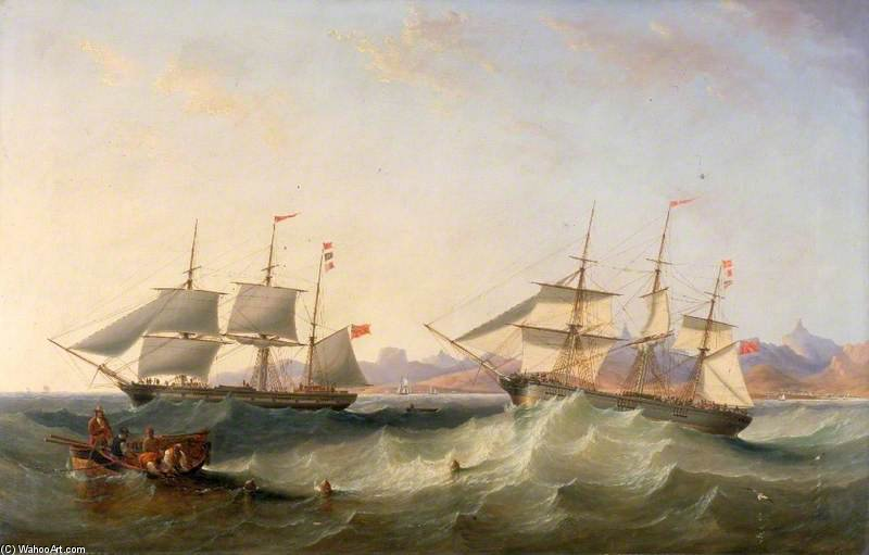 A Clipper And An East Indiaman Leaving Port by John Wilson Carmichael (1800-1868, United Kingdom)