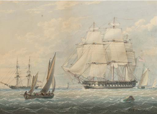 A Royal Naval Frigate Amidst Other Shipping At Spithead by John Wilson Carmichael (1800-1868, United Kingdom)