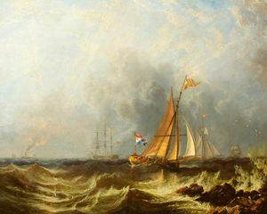 John Wilson Carmichael - A Seascape With Shipping