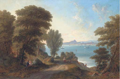 A View Across The Firth Of Forth To Edinburgh, The Castle by John Wilson Carmichael (1800-1868, United Kingdom)