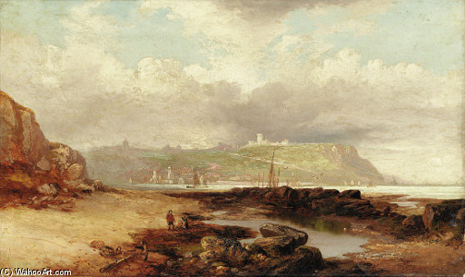 A View Of Dover Castle From The Harbor by John Wilson Carmichael (1800-1868, United Kingdom)