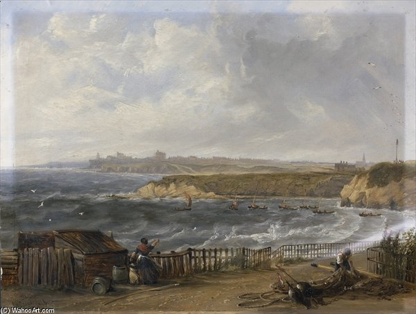 Cullercoats Looking Towards Tynemouth - Flood Tide by John Wilson Carmichael (1800-1868, United Kingdom)