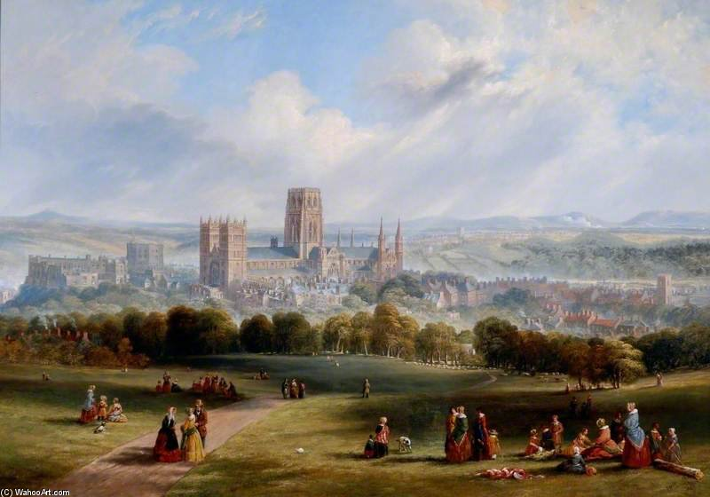 Durham From Observatory Hill by John Wilson Carmichael (1800-1868, United Kingdom)