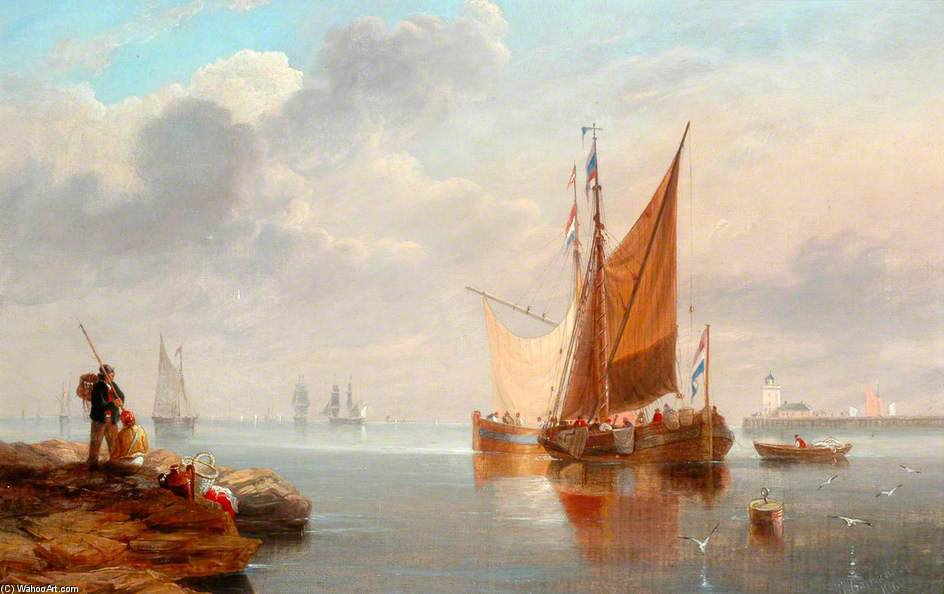 Dutch Fishing Boats by John Wilson Carmichael (1800-1868, United Kingdom)
