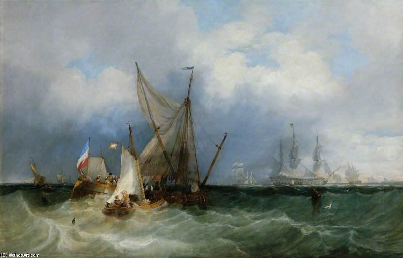 Dutch Vessels And A Man-of-war At Sea by John Wilson Carmichael (1800-1868, United Kingdom)