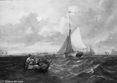 Ferrying Across The Harbour Mouth At Portsmouth by John Wilson Carmichael (1800-1868, United Kingdom)