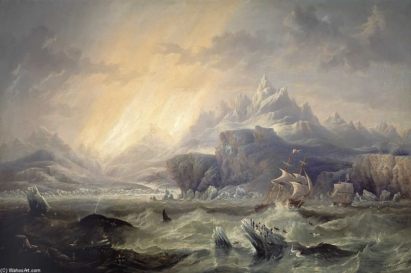 Hms Erebus And Terror In The Antarctic by John Wilson Carmichael (1800-1868, United Kingdom) | ArtsDot.com