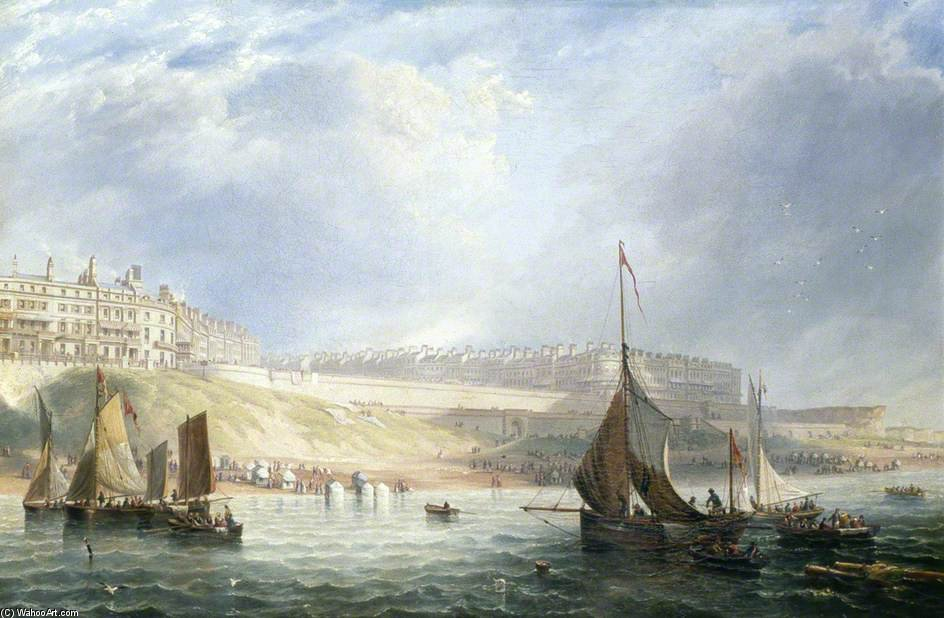 Kemp Town, Brighton, East Sussex, From The Sea by John Wilson Carmichael (1800-1868, United Kingdom)