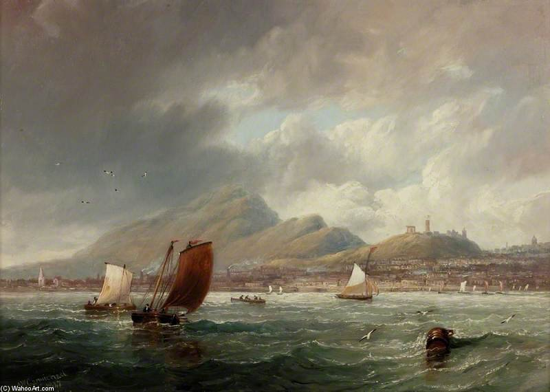 Leith And Edinburgh From The Firth Of Forth by John Wilson Carmichael (1800-1868, United Kingdom)