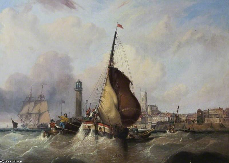 Margate Harbour, Kent by John Wilson Carmichael (1800-1868, United Kingdom)