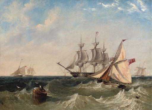 Naval Cutters Offshore With A Frigate Coming To Anchor, Probably At Spithead by John Wilson Carmichael (1800-1868, United Kingdom)