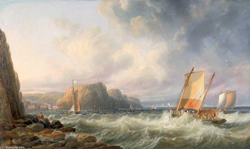 Off The Yorkshire Coast, Staithes by John Wilson Carmichael (1800-1868, United Kingdom)
