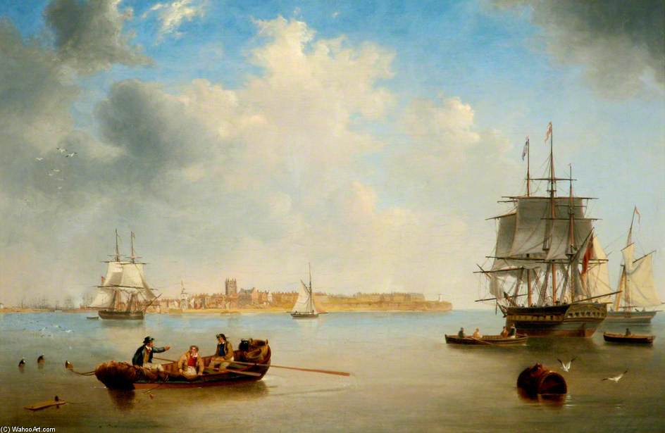 Old Hartlepool, Tees Valley by John Wilson Carmichael (1800-1868, United Kingdom)