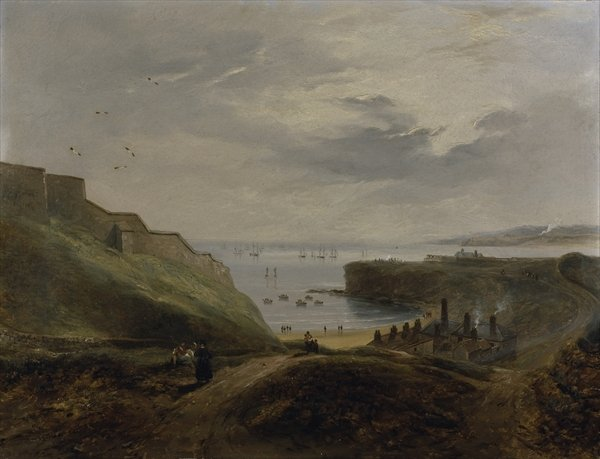 Prior's Haven, Tynemouth - Sunrise by John Wilson Carmichael (1800-1868, United Kingdom)