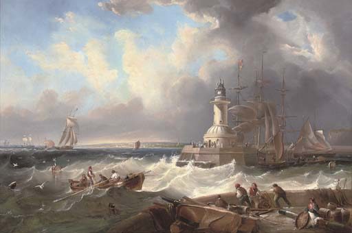 Ramsgate Harbour Mouth At The Top Of The Tide by John Wilson Carmichael (1800-1868, United Kingdom)
